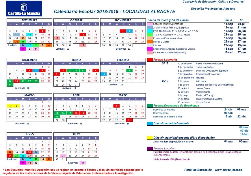 CALENDARIO 2018-2019 ALBACETE